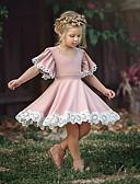 billiga Brudnäbbsklänningar-Småbarn Flickor Grundläggande Dagligen Dusty Rose Enfärgad Kortärmad Klänning Rodnande Rosa