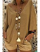 billige T-skjorter til damer-Løstsittende V-hals Store størrelser T-skjorte Dame - Ensfarget Gatemote Rosa