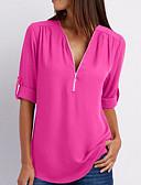 billige Bluser-V-hals T-skjorte Dame - Ensfarget Lyseblå