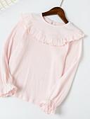 olcso Lány dzsekik és kabátok-Kisgyermek Lány Aktív Napi Egyszínű Hosszú ujj Szokványos Póló Fekete