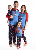 povoljno Obiteljski komplet odjeće-Obiteljski izgled Osnovni Božić Dnevno Životinja Dugih rukava Sleepwear Plava