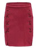 olcso Női szoknyák-Női Bodycon Szexi Szoknyák - Egyszínű Fekete Bor Barna S M L / Mini / Kecskebőr / Vékony
