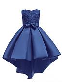 זול שמלות לילדות פרחים-שמלה א-סימטרי ללא שרוולים פאייטים אחיד Party / חגים פעיל / מתוק בנות ילדים