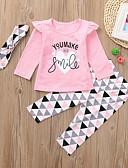 povoljno Haljinice za bebe-Dijete koje je tek prohodalo Djevojčice Aktivan Osnovni Dnevno Crno-bijela Geometrijski oblici Print Dugih rukava Regularna Normalne dužine Pamuk Komplet odjeće Blushing Pink