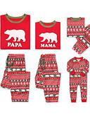 povoljno Obiteljski komplet odjeće-Obiteljski izgled Osnovni Božić Dnevno Životinja Dugih rukava Komplet odjeće Red