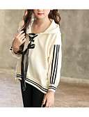 olcso Lány ruhák-Gyerekek Lány Alap Napi Egyszínű Hosszú ujj Szokványos Pamut Kapucnis felső és melegítő Bézs