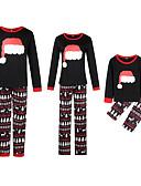 povoljno Obiteljski komplet odjeće-Obiteljski izgled Osnovni Božić Dnevno Geometrijski oblici Dugih rukava Komplet odjeće Crn