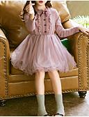 povoljno Haljine za djevojčice-Djeca Djevojčice Osnovni Dnevno Jednobojni Dugih rukava Haljina Blushing Pink / Pamuk