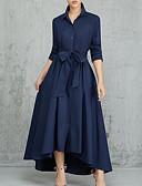 זול שמלות מקסי-צווארון חולצה מותניים גבוהים מקסי אחיד - שמלה נדן רזה סגנון רחוב עבודה בגדי ריקוד נשים