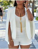 ราคาถูก ชุดสูททำหรับผู้หญิง-สำหรับผู้หญิง ทำงาน ปกติ เสื้อคลุมสุภาพ, สีพื้น ปกคอแบะของเสื้อแบบน็อตช์ แขนยาว เส้นใยสังเคราะห์ ขาว / สีดำ