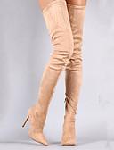 Χαμηλού Κόστους Βραδινά Φορέματα-Γυναικεία Μπότες Πάνω από το μπότες γόνατο Τακούνι Στιλέτο Μυτερή Μύτη Φο Γούνα Ψηλές μπότες Γλυκός Άνοιξη & Χειμώνας Μαύρο / Αμύγδαλο / Βυσσινί / Πάρτι & Βραδινή Έξοδος