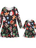 povoljno Obiteljski komplet odjeće-Mama i mene Aktivan Božić Dnevno Geometrijski oblici Božić Dugih rukava Haljina Crn