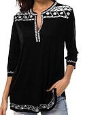 billige Bluser-Dyp V Store størrelser Skjorte Dame - Ensfarget / Geometrisk Grunnleggende Lilla