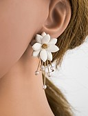 Χαμηλού Κόστους Quartz Ρολόγια-Γυναικεία Κουμπωτά Σκουλαρίκια 3D Λουλούδι κυρίες Στυλάτο Κλασσικό Απομίμηση Μαργαριταριού Ρητίνη S925 Sterling Silver Σκουλαρίκια Κοσμήματα Μπεζ / Λευκό Για Καθημερινά 1 Pair