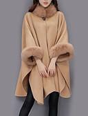 billige Todelt dress til damer-Dame Daglig Gatemote Høst / Vinter Lang Cloak / Capes, Ensfarget Crew-hals Langermet Ull / Akryl / Polyester Kamel / Grå