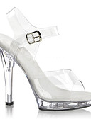 povoljno Kupaći kostimi u plus veličini-Žene Cipele na petu Jelly Sandale Stiletto potpetica Kopča PVC Klub obuća / Lucite Heel Proljeće / Ljeto Crn / Obala / Vjenčanje / Zabava i večer / Zabava i večer / EU40