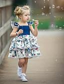 baratos Vestidos para Bebês-bebê Para Meninas Activo / Moda de Rua Festa / Aniversário Azul e Branco Floral Cordões / Estampado Sem Manga Padrão Padrão Acima do Joelho Algodão Vestido Azul / Bébé