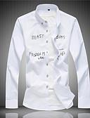 Χαμηλού Κόστους Ανδρικά μπλουζάκια και φανελάκια-Ανδρικά Πουκάμισο Κομψό στυλ street Γράμμα Μαύρο / Μακρυμάνικο