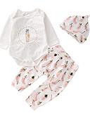 ราคาถูก เสื้อผ้าสำหรับเด็กทารกผู้หญิง-ทารก เด็กผู้หญิง พื้นฐาน ทุกวัน สีพื้น แขนยาว ปกติ ชุดเสื้อผ้า ขาว / Toddler