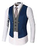 ราคาถูก เน็กไทและโบว์ไท-สำหรับผู้ชาย ทำงาน ฤดูใบไม้ผลิ / ตก ปกติ เสื้อกั๊ก, ลายบล็อคสี คอวี เสื้อไม่มีแขน เส้นใยสังเคราะห์ ลายต่อ สีดำ / ทับทิม / สีกากี