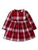 povoljno Haljinice za bebe-Dijete Djevojčice Osnovni Božić Houndstooth Dugih rukava Haljina Red / Dijete koje je tek prohodalo