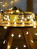 billige Eksotisk herreundertøy-6m pentagram strengelys 40 leds varm hvit julefest soverom dekorativ 220-240 v 1 sett