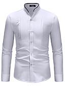 ราคาถูก กางเกงผู้ชาย-สำหรับผู้ชาย เชิร์ต พื้นฐาน ฝ้าย ปกตั้ง ลายบล็อคสี ขาว / แขนยาว