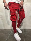 ราคาถูก กางเกงผู้ชาย-สำหรับผู้ชาย ซึ่งทำงานอยู่ ทุกวัน กางเกง Chinos / Cargo Pants กางเกง - สีพื้น ฤดูใบไม้ผลิ ตก ทับทิม เทาเข้ม อาร์มี่ กรีน XL XXL XXXL