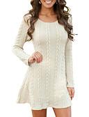 Χαμηλού Κόστους Sweater Dresses-Γυναικεία Βασικό Πλεκτά Φόρεμα - Μονόχρωμο Μίνι Άσπρο