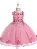 זול שמלות לילדות פרחים-שמלה עד הברך ללא שרוולים אחיד Party / חגים פעיל / מתוק בנות ילדים