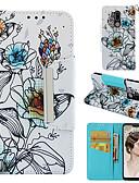ราคาถูก กรณีอื่น ๆ-Case สำหรับ LG LG G7 Wallet / Card Holder / Flip ตัวกระเป๋าเต็ม ดอกไม้ Hard หนัง PU