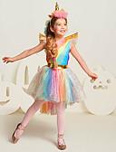 ราคาถูก เดรสเด็กผู้หญิง-เจ้าหญิง Unicorn คอสเพลย์และคอสตูม สำหรับเด็ก เด็กผู้หญิง ชุดเดรสต่างๆ ตาข่าย วันคริสต์มาส วันฮาโลวีน เทศกาลคานาวาล Festival / Holiday ตูเล่ ฝ้าย สายรุ้ง ชุดเทศกาลคานาวาว สายรุ้ง Unicorn