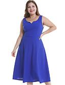 ราคาถูก เดรสพลัสไซซ์-สำหรับผู้หญิง ขนาดพิเศษ สง่างาม รูปตัว เอ แต่งตัว สีพื้น midi คอวี / Sexy