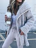 baratos Trench Coats Femininos-Mulheres Diário Moda de Rua Outono Padrão Casaco Longo, Sólido Colarinho de Camisa Manga Longa Poliéster Bege / Cinzento / Castanho Claro