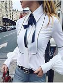 ราคาถูก เสื้อผู้หญิง-สำหรับผู้หญิง เชิร์ต พื้นฐาน โบว์ คอเสื้อเชิ้ต เพรียวบาง สีพื้น ขาว / ฤดูใบไม้ผลิ / ฤดูร้อน / ตก / ฤดูหนาว