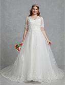 billiga Brudklänningar-A-linje V-hals Hovsläp Spets / Tyll Kortärmad Vacker i svart Bröllopsklänningar tillverkade med Kristalldetaljer / Spets 2020