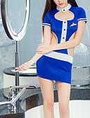 ราคาถูก ร่างกายเซ็กซี่-สำหรับผู้หญิง เปิดหลัง ซูเปอร์เซ็กซี่ เครื่องแบบและกี่เพ้า เสื้อนอน ลายบล็อคสี สีน้ำเงิน ขนาดเดียว