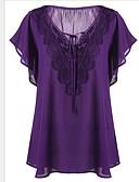 billige Bluser-Tynn V-hals Store størrelser T-skjorte Dame - Ensfarget Grunnleggende Gul