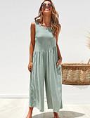 ราคาถูก จั๊มสูทและเสื้อคลุมสำหรับผู้หญิง-สำหรับผู้หญิง ทุกวัน สีดำ ขาว อาร์มี่ กรีน ขากว้าง ชุด Jumpsuits Onesie, สีพื้น S M L เสื้อไม่มีแขน