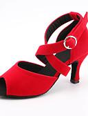 ราคาถูก เสื้อเชิ้ตสำหรับสุภาพสตรี-สำหรับผู้หญิง รองเท้าเต้นรำ ซาติน ลาติน หัวเข็มขัด รองเท้าแตะ / รองเท้าผ้าใบ ส้นสูงบาง ตัดเฉพาะได้ สีดำ / สีแดงสว่าง / ฟ้า / Performance / หนังสัตว์