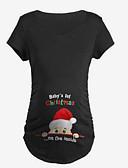 billige Toppe-Mammaklær T-skjorte Dame - Ensfarget / Geometrisk Grunnleggende Hvit