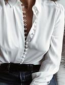 baratos Camisas Femininas-Mulheres Camisa Social Básico Botão, Sólido Algodão Decote V Delgado Preto