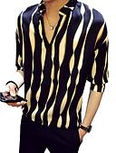 ราคาถูก เสื้อเชิ้ตผู้ชาย-สำหรับผู้ชาย เชิร์ต ปาร์ตี้ / คลับ ปกตั้ง ลายแถบ สีดำ / ฤดูใบไม้ผลิ / ฤดูร้อน