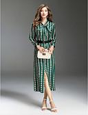 Χαμηλού Κόστους Print Dresses-Γυναικεία Εξόδου Κομψό στυλ street Λεπτό Swing Φόρεμα - Πολύχρωμο, Στάμπα Μίντι Κολάρο Πουκαμίσου