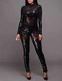 ราคาถูก ชุดเดรสปาร์ตี้-เสื้อผ้าเต้นรำที่แปลกใหม่ Nightcub Jumpsuits / คลับแวร์ / เสื้อคลับ สำหรับผู้หญิง การฝึกอบรม / Performance เส้นใยสังเคราะห์ ปักเลื่อม แขนยาว สูง ชุดแนบเนื้อสำหรับการเต้น