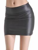 baratos Saias Femininas-Mulheres Sensual Poliuretano Bodycon Saias - Sólido Cintura Alta Preto S M L / Mini