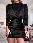 baratos Mini Vestidos-Mulheres Festa Elegante Delgado Bainha Vestido - Franzido Pregueado Acima do Joelho