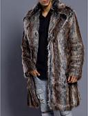 baratos Jaquetas & Casacos para Homens-Homens Diário Luxo / Básico Inverno Longo Casaco de Pêlo, Listrado Aberto para a Lateral Manga Longa Pêlo Sintético Marron
