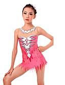 povoljno Teretana-Triko za ritmičku gimnastiku Trikoi za ritmičku gimnastiku Žene Djevojčice Triko za vježbanje Blushing Pink Spandex Visoka elastičnost Ručno izrađen Jeweled Izgled dijamanta Dugih rukava Natjecanje