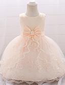 Χαμηλού Κόστους Βρεφικά φορέματα-Μωρό Κοριτσίστικα Βασικό Μονόχρωμο Αμάνικο Φόρεμα Λευκό / Νήπιο